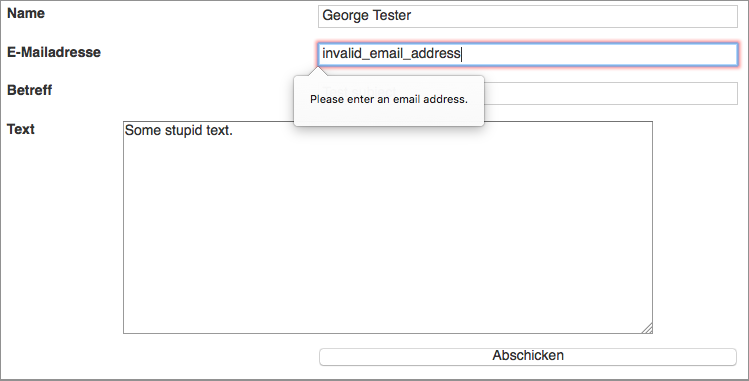 This is the automatic output by Firefox, after clicking the submit button. The form values are not submitted.
